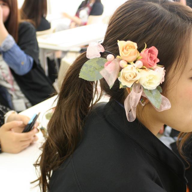 YIC京都ビューティ専門学校 ヘッドアクセサリー手作り体験2