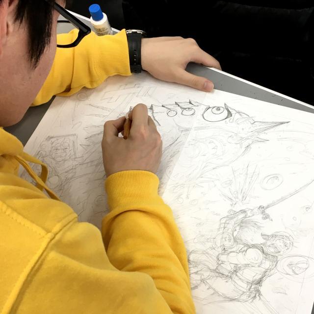 日本デザイン福祉専門学校 7/30(月)マンガ・アニメのワンシーンを描く2