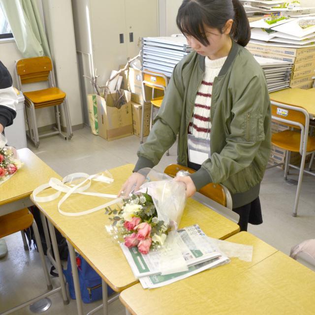 日本ガーデンデザイン専門学校 フラワーバレンタイン 在校生と一緒に心を込めたブーケづくり3