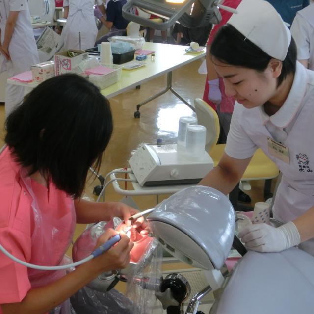 熊本歯科技術専門学校 歯科衛生士科 模型についた歯石を機械できれいにとってみよう!1