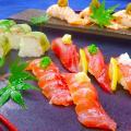 【日本料理】マグロとあぶりサーモンの握り寿司