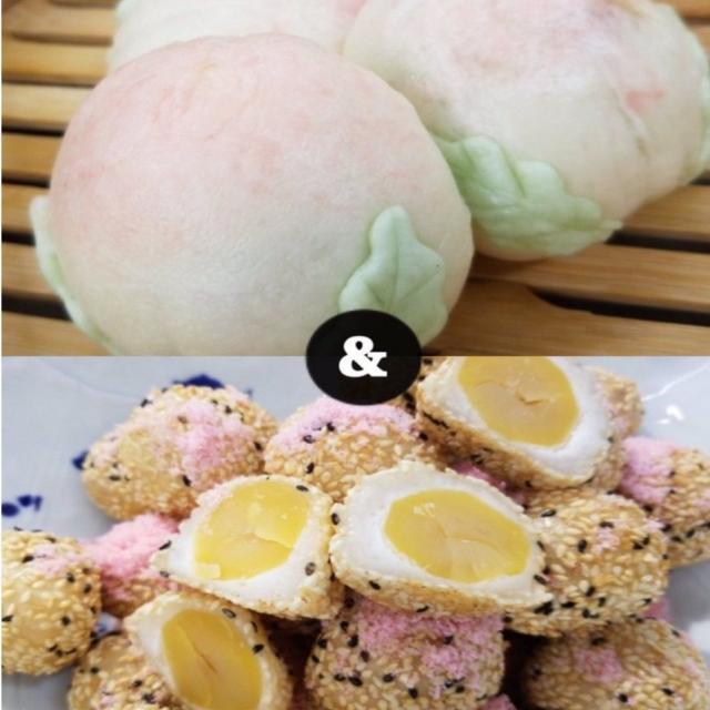 山手調理製菓専門学校 【中国料理】桃まんじゅう&栗入り胡麻団子1