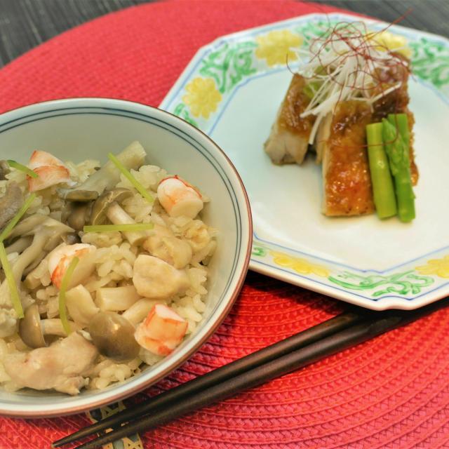 東京調理製菓専門学校 鶏のくわ焼きと 炊き込み御飯1