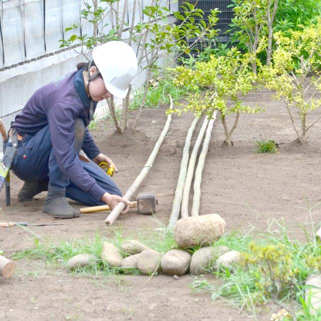 日本ガーデンデザイン専門学校 在校生が頑張っています!国家資格 技能検定 合格を目指して1