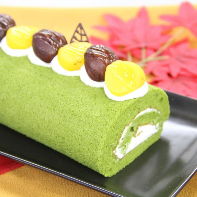 抹茶と栗のロールケーキ♪