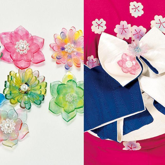 織田きもの専門学校 プラバンで帯飾り作り&アンティークきもの着付体験1