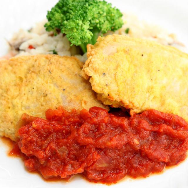 福岡調理師専門学校 【西洋】カレー風味のポークピカタ トマトソース1