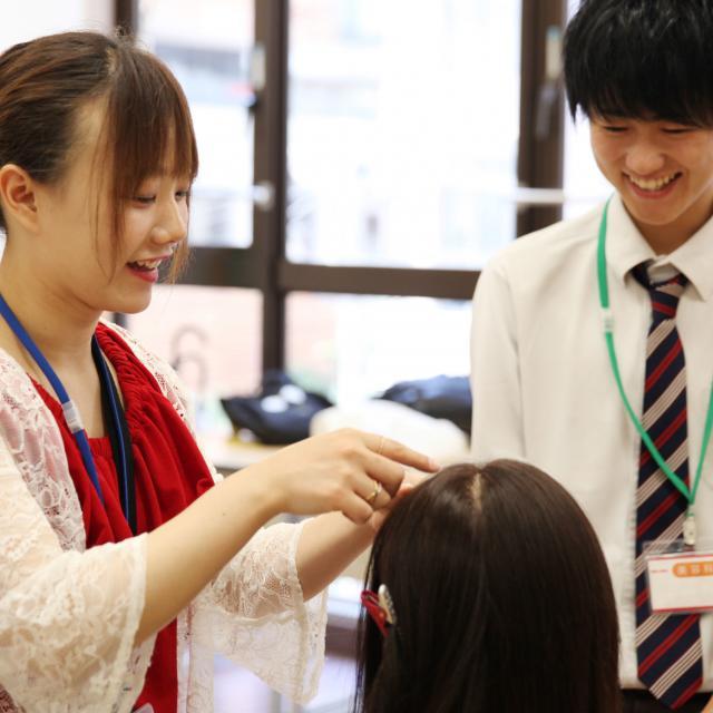 大阪ベルェベル美容専門学校 バレンタインにピッタリなヘアアレンジやメイクを体験しよう♪2