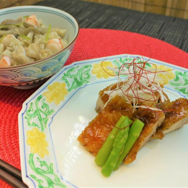 東京調理製菓専門学校 鶏のくわ焼きと 炊き込み御飯2